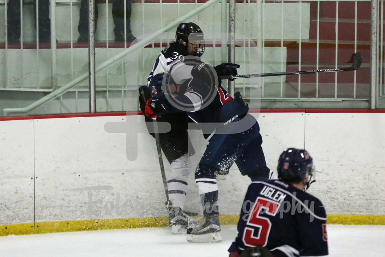 Holy Cross forward Mitch Collett (39) USA Hockey National University Team Tyler Opilka (University of Illinois) (22)