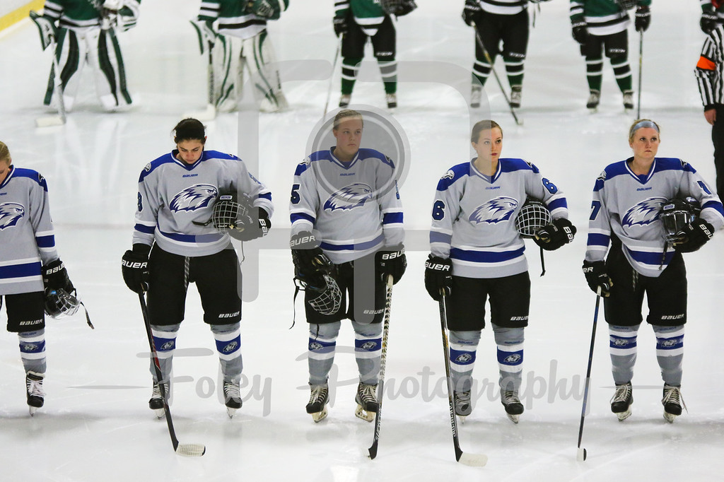 Thursday, November 3, 2016; Marlboro, Massachusetts; Three Becker College Hawks listen to the national anthem during the Mustangs 2-0 win over the Hawks.