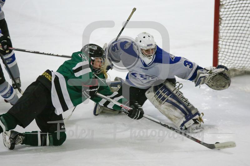 Stevenson University Mustangs Monica Pozuc (13) Becker College Hawks goalie Julia Johnson (35)