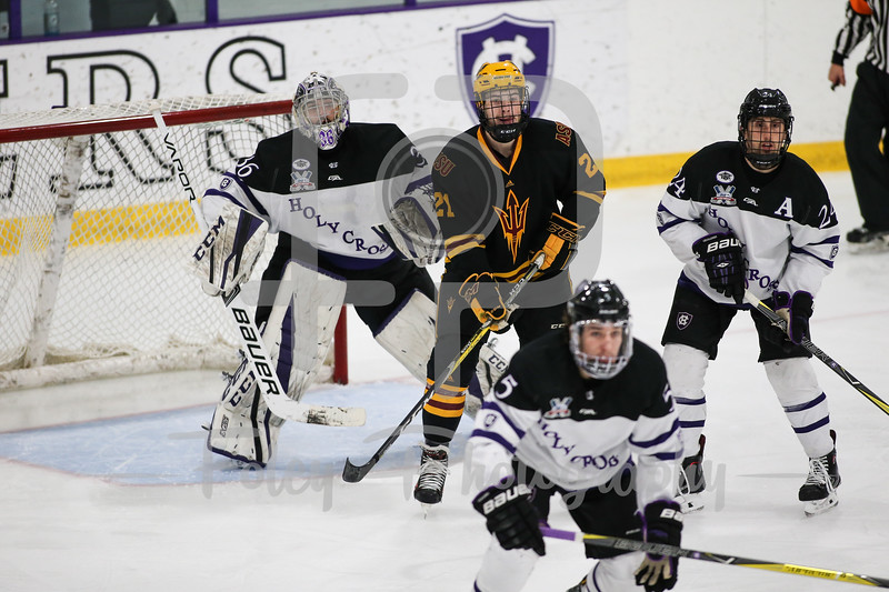 Nov. 25, 2017, Hart Center, Worcester, Massachusetts: during a 3-3 tie between the Sun Devils and the Crusaders in a non-conference matchup.