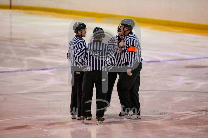 Oct. 31, 2017, Loring Rink, Framingham, MA: The official meet before the opening face-off before a 3-3 tie between the Hawks and Rams.