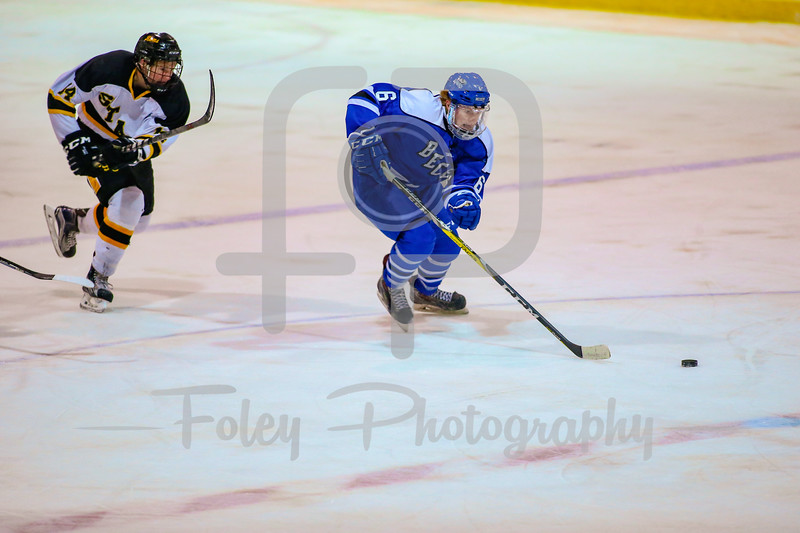 Oct. 31, 2017, Loring Rink, Framingham, MA: Becker College Hawks defenseman Shawn Peckham (6) looks to track down a puck during a 3-3 tie between the Hawks and Rams.