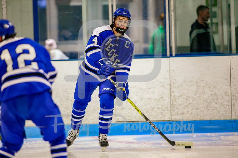 Becker College Hawks defenseman Nikolas` Nasby (4)