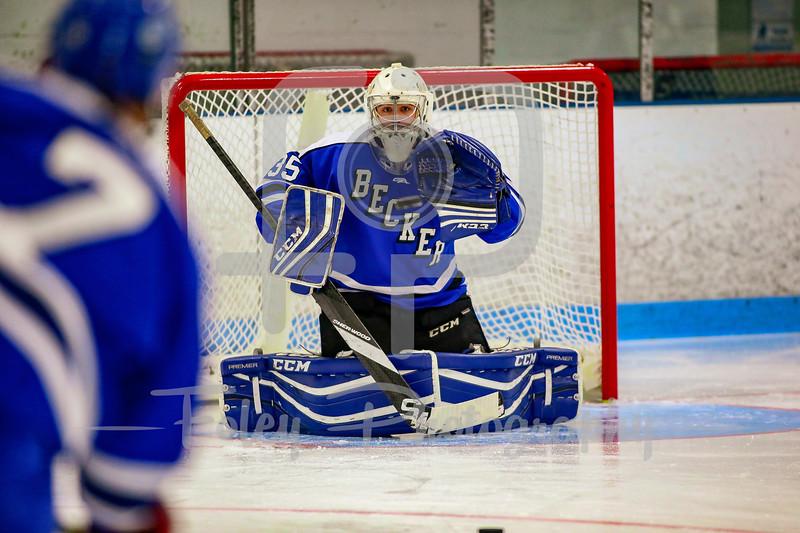Becker College Hawks goalie Grant Martens (35)