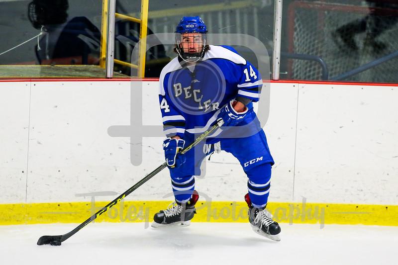 Becker College Hawks defenseman Austin Siering (14)