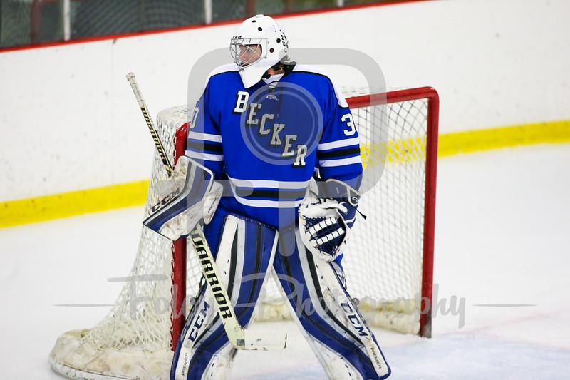 Becker College Hawks goalie Cody Foster (30)