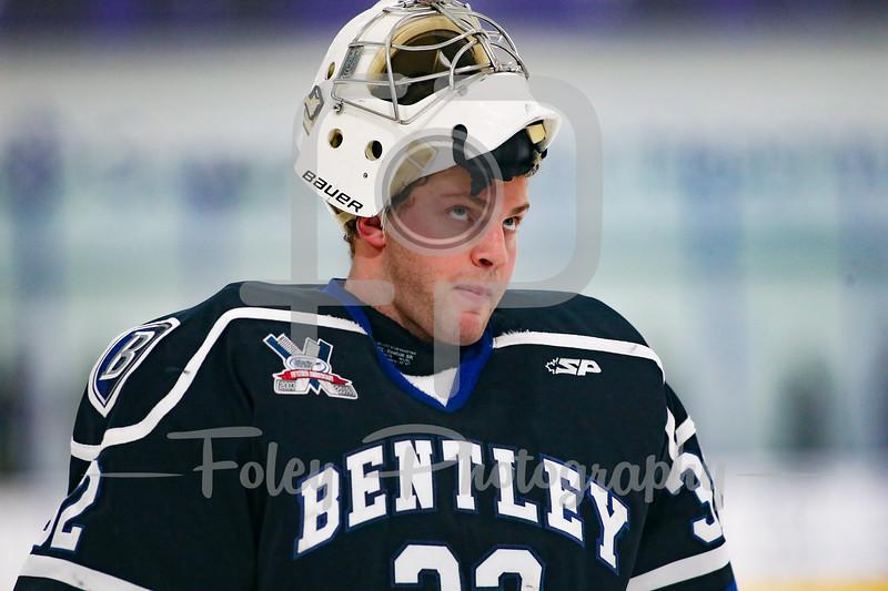 Bentley Falcons goalie Jayson Argue (32)