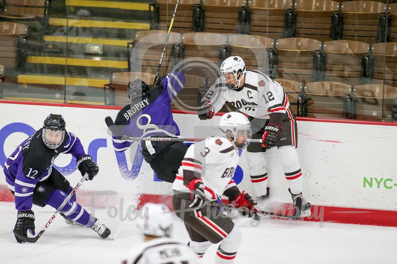 Brown Bears defenseman Josh McArdle (12) Holy Cross Crusaders defenseman Will Brophy (8)