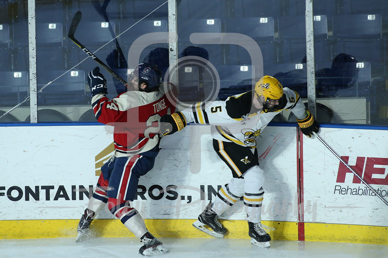 Robert Morris Colonials forward Alex Tonge (24) AIC Yellow Jackets defenseman Ryan Polin (5)