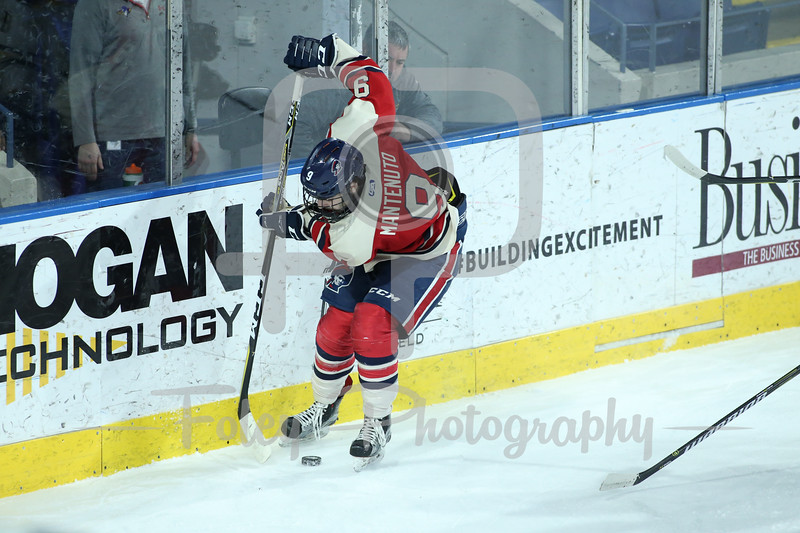 Robert Morris Colonials forward Daniel Mantenuto (9)