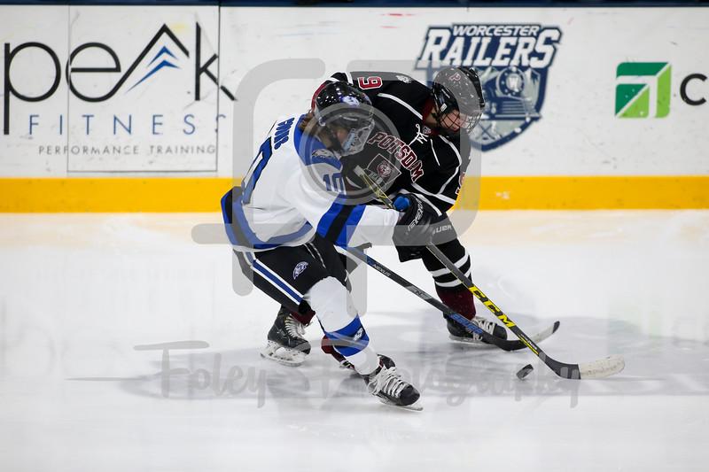 Becker College Hawks forward Bailey Coons (10) SUNY-Potsdam defenseman Rylie Murray (9)