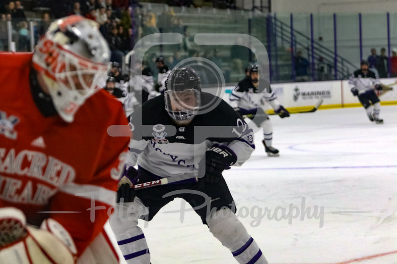 Holy Cross Crusaders forward Scott Pooley (12) Sacred Heart Pioneers goaltender Brett Magnus (33)