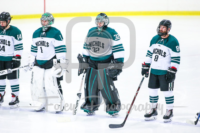 Nov. 4, 2017, Burrillville, Levy Rink, RI: The Nichols College Bison listen to the national anthem before the Bison 3-2 overtime victory over the Rams in a Commonwealth Coast Conference matchup