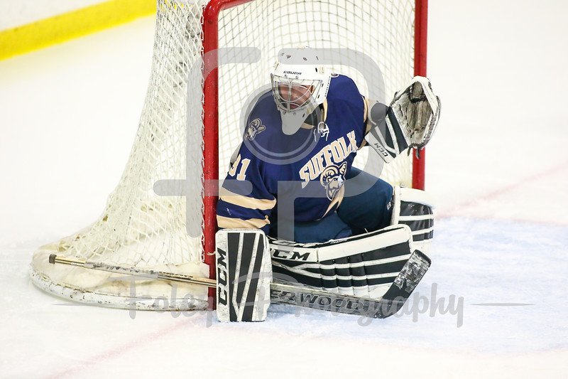 Suffolk College Rams goalie Will Ribas (31)