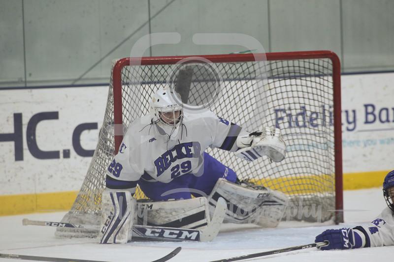 Becker College Hawks goaltender Ryan Clifford (29)