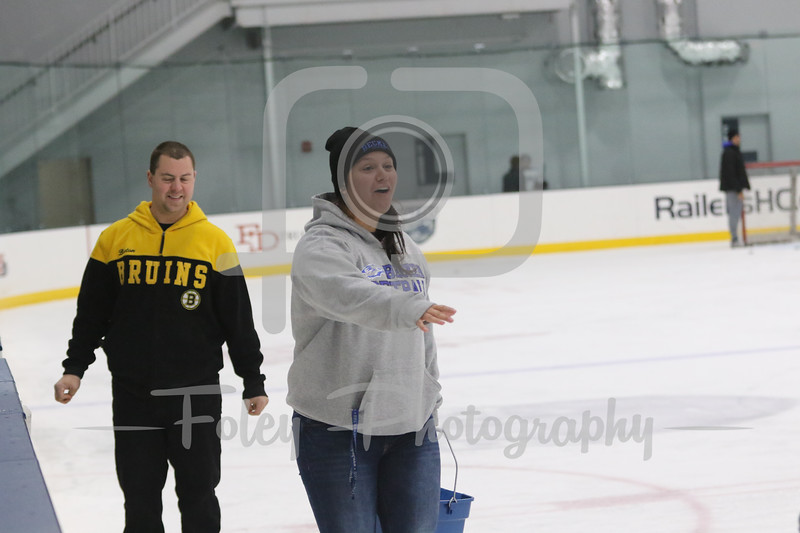 Nov. 18, 2017, Worcester Ice Center, Worcester, Massachusetts: A Becker College student struggles walking on the ice before a 2-2 tie between the Wildcats and the Hawks.