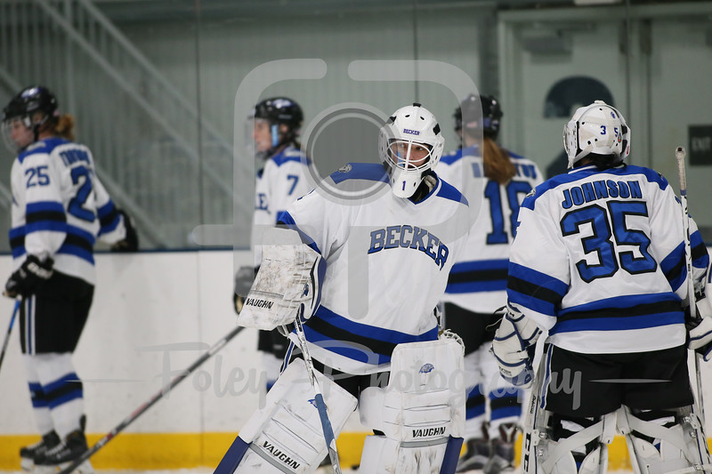 Becker College Hawks goalie Madison Rigsby (1)