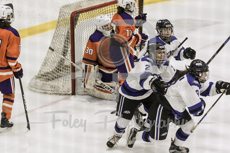 Becker College Hawks forward Michaela Martin (2) Becker College Hawks forward Brittany Aiello (8)