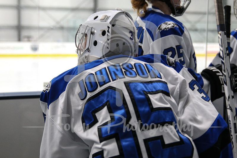 Becker College Hawks goaltender Julia Johnson (35)