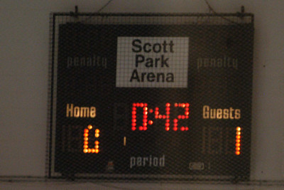 A great way to end the first period.  Scott Park's goalie is amazing holding us off the score sheet.