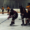 Game 1 was on Friday night at 6:30 PM.  Nick made it by 6:10 as once again Dad got lost again.  Playing a from Shallow Lakes somewhere from Ontario, the Bengals started real sluggish but perservere with a 4-1 win on goals by Adam (2), Nick and _____.  The lighting was poor and the pics are awful.