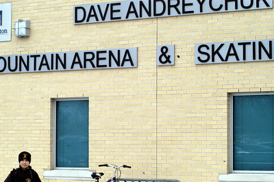 Nick at the Dave Andreychuk Mountain Arena EARLY!