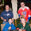 Enjoying different beers, and beer-like beverages before the game with the Blues fans