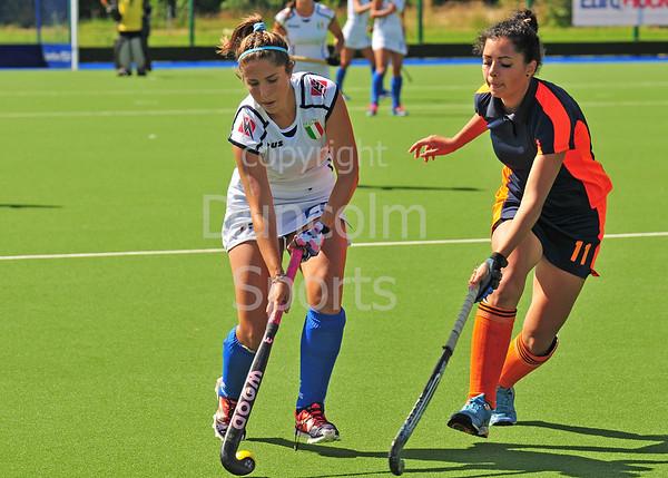 29 July 2016 at the National Hockey Centre, Glasgow Green, Scotland.<br /> EuroHockey U18 Championships II, Day 5.<br /> Pool C match - Ukraine v Italy