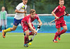 24 July 2016 at the National Hockey Centre, Glasgow Green, Scotland.<br /> EuroHockey U18 Championships II, Day 1.<br /> Pool A match - Wales v Ukraine