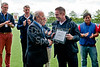 30 July 2016 at the National Hockey Centre, Glasgow Green, Scotland.<br /> Uddingston Hockey Club representatives are presented with the Small Club of the Year award by Jorge Alcover