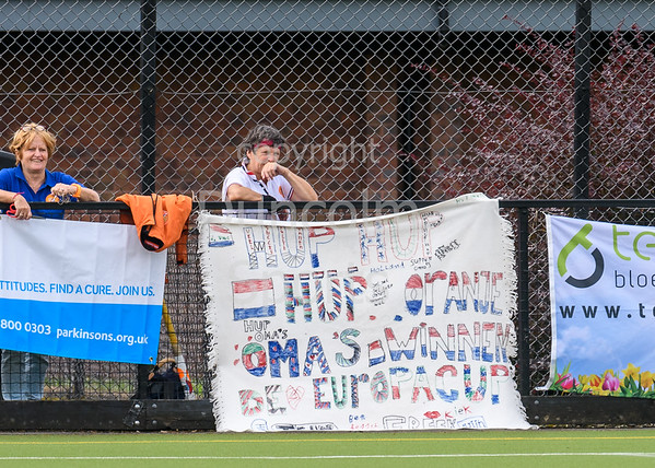 """23 August 2017 at Strathclyde University Playing Fields, Stepps, Glasgow. Grand Masters Hockey European Cup 2017. Women's over 60 match - England v Alliance """"GM"""""""