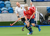 26 August 2017 at the National Hockey Centre, Glasgow Green . Grand Masters Hockey European Cup 2017. Over 60s semi-final match - Germany v England