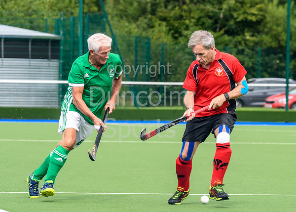 21 August 2017 at the National Hockey Centre, Glasgow Green. Grand Masters Hockey European Cup 2017. Over 65 match - Ireland v Wales