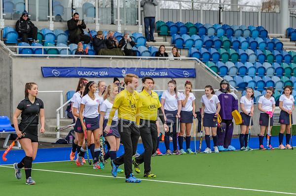 8th March 2019 at the National Hockey Centre, Glasgow Green. Scottish Hockey Junior Schools Finals. <br /> Junior Girls Plate Final - Fettes College v Peebles High School