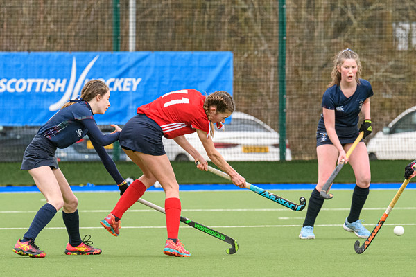 6 March 2020 at the National Hockey Centre, Glasgow Green. Scottish Hockey Junior Schools' Cup Finals – <br /> Junior Girls' Cup - George Heriot's v St George's School