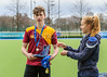 16 March 2018 at the National Hockey Centre, Glasgow Green. Scottish Schools Cup Finals night.<br /> Aspire Boys Plate – Harris Academy v Beaconhurst
