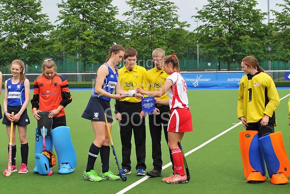 17 June 2016 at the National Hockey Centre, Glasgow Green<br /> Scotland under 16 girls v Ulster