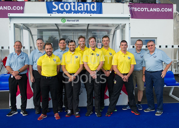 10 September 2016 at the National Hockey Centre, Glasgow Green. <br /> FIH Men's World League 1  The officials
