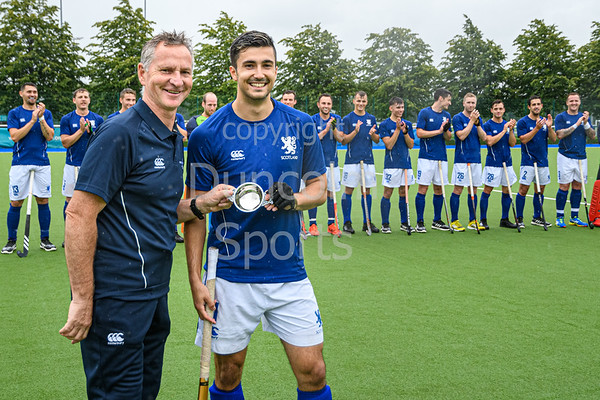 27 July 2019 at the National Hockey Centre, Glasgow Green. <br /> Scotland v Ireland <br /> Lee Morton's 50th cap