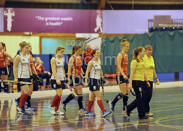 Scotland v England. Indoor Hockey at Bells Sports Centre, Perth on 18 January 2014