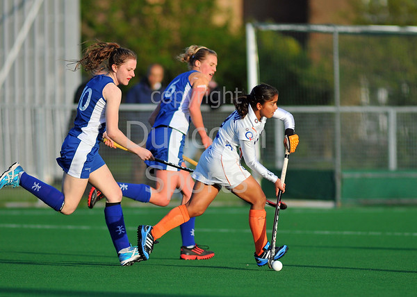 Scotland under 21 Women v India. Titwood on 10 May 2013