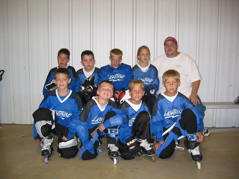 Early days of hockey - Ryan Hoots (2nd from left back), Adrian Downy (2nd from left back), Clay Douthat (2nd from left front),  also in photo Corey and Josh Mesmer.