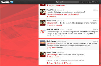 Nick's tweet chat with Dan O'Toole of TSN ... he's the guest speaker at the OFSAA Banquet