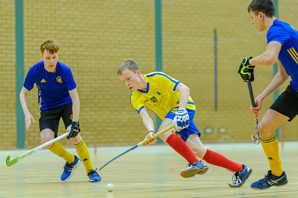 12 January 2020 at Bells Sports Centre, Perth. Scottish Hockey U18 Indoor Boys Cup.<br /> Uddingston v Perthshire