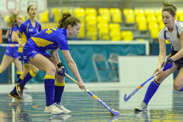 11 January 2020 at Bells Sports Centre, Perth. Scottish Hockey U18 Indoor Girls Cup.<br /> Strathallan v Robert Gordon's