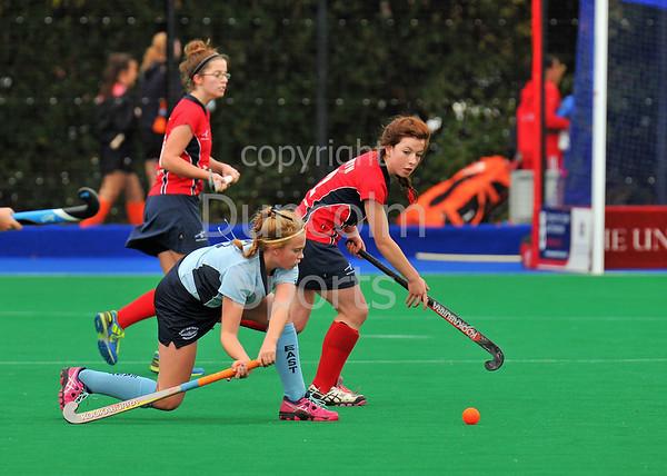 4 October 2014. Peffermill, Edinburgh.  Girls Youth Inter-District Hockey. Under 16 North v East