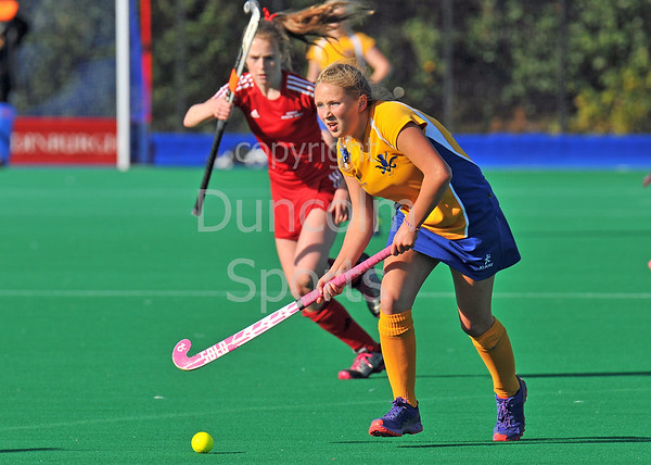 4 October 2014. Peffermill, Edinburgh.  Girls Youth Inter-District Hockey. Under 16 South West v West