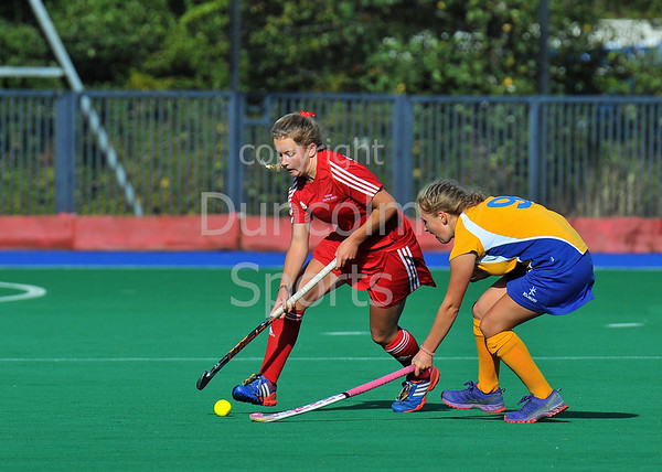 4 October 2014. Peffermill, Edinburgh.  Girls Youth Inter-District Hockey. Under 16 South West v West