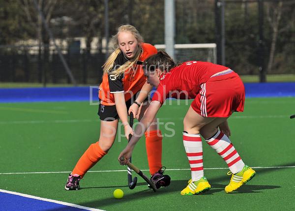 4 October 2014. Peffermill, Edinburgh.  Girls Youth Inter-District Hockey. Under 16 South West v Highland