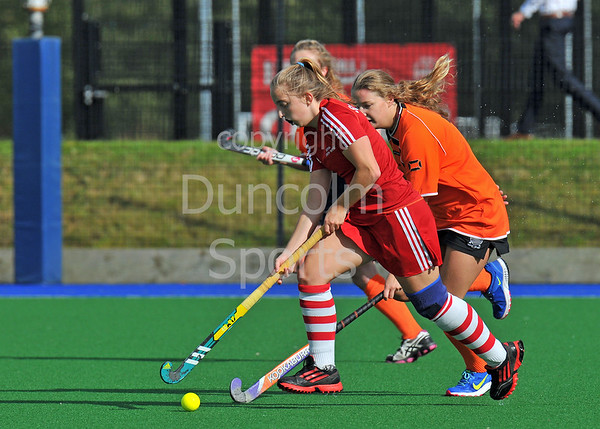 4 October 2014. Peffermill, Edinburgh.  Girls Youth Inter-District Hockey. Under 16 South West v Highland